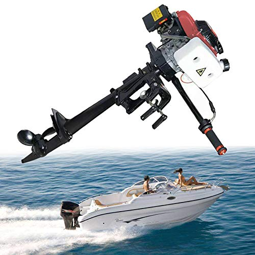 SICAN 4HP Boat Engine Heavy Duty 4 Stroke Outboard Motor Air Cooling System 52CC Boat Engine-Full Saltwater and Freshwater Compatibility