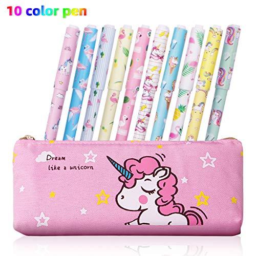 penne e astucci unicorno cancelleria Set, Richaa 10 pezzi di penne a inchiostro colorato in gel e custodia per matite di unicorno per ragazze Regalo di compleanno per bambini a scuola