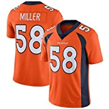 Maillot de Rugby à XV pour Hommes # 58 Von Miller Denver Broncos Polo Shirt Chemises d'entraînement Unisexe T-Shirt décontracté à Manches Courtes Légende Maillot brodé-Orange-L(183.188CM)