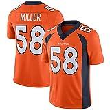 Von Miller # 58 Denver Broncos Football américain Jersey, Rugby Uniforme Mens Mesh Jersey T-Shirt personnalisé Rugby Shirt Retro Jersey-Orange-S(170~175CM)