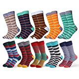 Happy Socks 10 Pairs Thick Striped funky Colorful Classic Solid Soft Dress for Mens Shoe Size 6-12.5