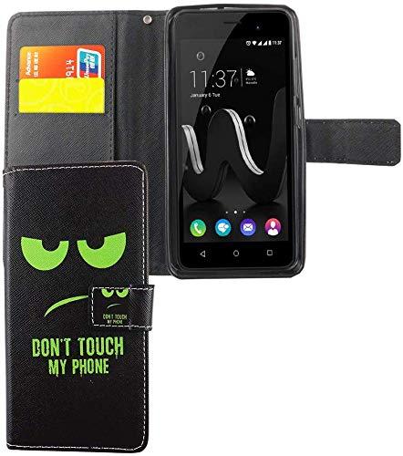 König Design Handyhülle Kompatibel mit Wiko Jerry Handytasche Schutzhülle Tasche Flip Hülle mit Kreditkartenfächern - Don't Touch My Phone Grün Schwarz