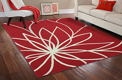 Garland Rug Grand Floral area rug, 8-Feet by 10-Feet, Santa Fe Coral/Ivory