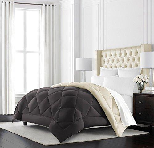 Beckham Hotel Collection - Goose Down Alternative Reversible Comforter - All Season - Premium Quality Luxury Comforter - King/Cal King - Brown/Cream