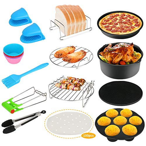 An image of the 124Pcs Air Fryer Accessories, Bestcool Airfryer Kit 8'' Actifry Air Fryer of 4.2QT-6.8QT-UP with Non-Stick Cake Pan, Silicone Mat, Pizza Tray Suitable for Healthy Eating Item Name (aka Title)