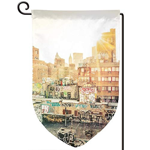 Lilyo-ltd Graffiti Rooftops at Sunset Chinatown New York City Garden Yard Flagge, 31,8 x 45,7 cm, doppelseitig, Polyester