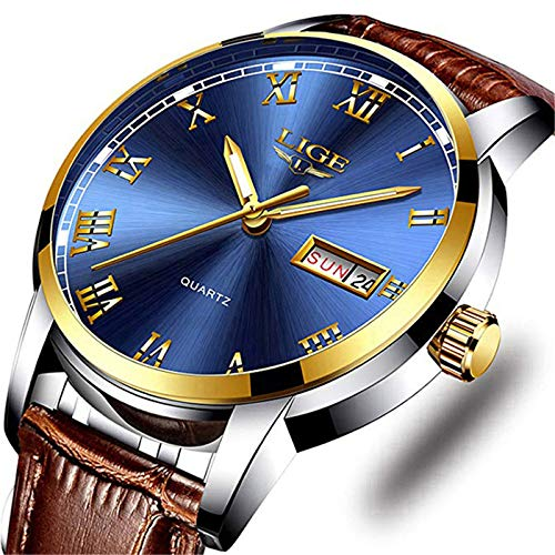 Men's Sport Quartz Watch Roman Numeral Fashion Analog Luminous Wristwatch with Calendar Date,Waterproof 30M Water Resistant Comfortable Leather Watches Brown