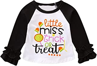 Halloween Printing Shirt Toddler Kids Baby Girl Long Sleeve Ruched Tops Clothes Outfit