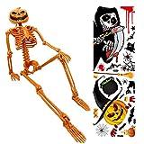 Cemobile Decoraciones de esqueletos de Halloween, calavera de calabaza de 15 pulgadas, cuerpo completo, articulaciones Posables esqueleto para Halloween, ecuerdos de fiesta, 2 pegatinas de pared