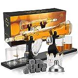 Whiskey Karaffe Set,S SMAUTOP Whisky Karaffe Gewehr und Geschossdesignform 800 ml Whisky Dekanter Gewehrform Vier Glasbecher-9 Whisky Steine,Geschäftsgeschenk Geschenke für Männer(Geschenkver packung)