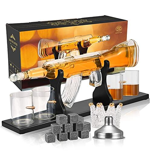 décoration de whisky,Ensemble de Carafe à Whisky en Forme de Pistolet et de Balle,Carafe à Whisky,carafe whisky 800 ML Forme de Pistolet à Quatre Tasses en Verre, 9 glaçons répétés, Cadeau d'affaires