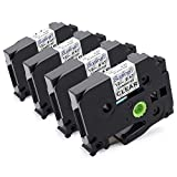 Suminey Compatible Label Tape Replacement for Brother TZe-131 Standard Laminated P-Touch Label Maker Tape 12mm 1/2' (0.47'), Black on Clear, Water Resistant, for PT D210 H110 D600 1230PC 1280, 4-Pack