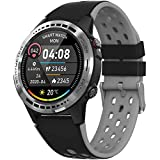 Bluetooth Smart Watch with Message Notification, 1.3' Full Touch Screen Smartwatch IP67 Waterproof Fitness Tracker Watch with Heart Rate/Sleep Monitor GPS Pedometer Stopwatch for Kids Men Women,Gray