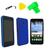 TPU Flexible Skin Cover Case Cell Phone Accessory + Screen Protector + Extreme Band + Stylus Pen + Pry Tool For Alcatel UNITE A466BG (TPU Blue)