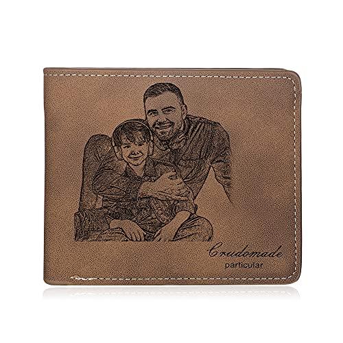 Glooraca Cartera de fotos personalizadas, de piel personalizada, regalos para papá, tarjetas grabadas, cartera para hombres, mujeres, amigas de la familia, regalo del hijo para el día del padre