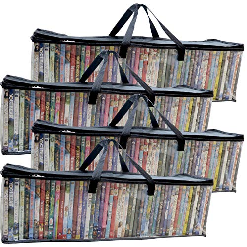 Evelots DVD/BlueRay/Video-Storage Bag-New-Clear-Handle-Hold 200 Total-Set/4