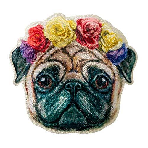 Aufnäher/Bügelbild - Hund Mops Gesicht Rosen - bunt - 5x5,2cm - Patch Aufbügler Applikationen zum aufbügeln Applikation Patches Flicken