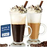 Crystalia Glass Irish Coffee Mugs with Handle, Tall Funnel Clear Glasses for Iced Coffee, Latte, Cappuccino, Hot Chocolate, 12 oz Big Plain Glasses Set of 2