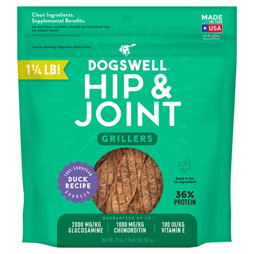 DOGSWELL 100% Grilled Meat Dog Treats, Made in The USA with Glucosamine, Chondroitin & New Zealand Green Mussel for Healthy Hips, 20 oz Duck