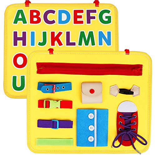 Vanmor Toddler Busy Board with ABC Montessori Toy Fine Motor Activity Sensory Board Educational Toy for Basic Skill Learn Dress and Alphabet Gift for Baby Boy Girl 1 2 3 4 5 6 Years Old