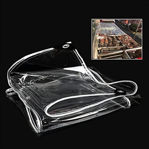 KOOEIN Plane Wasserdicht Schwerlast,transparente PVC-planen Mit Ösen,gewächshausabdeckung,weichglasplane,Anti-Aging-isolationsplane,365 G/m²,2x3.5m/6.6x11.5ft