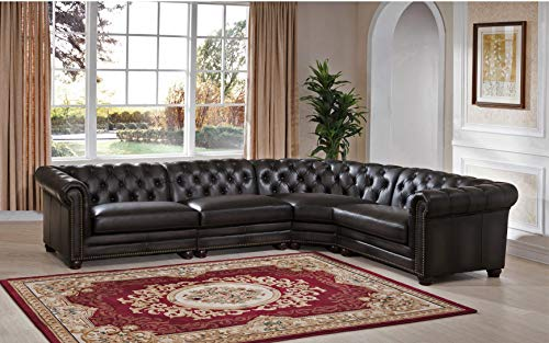 Hydeline Aliso 100% Leather Sofa Set (4-Piece, Gray)