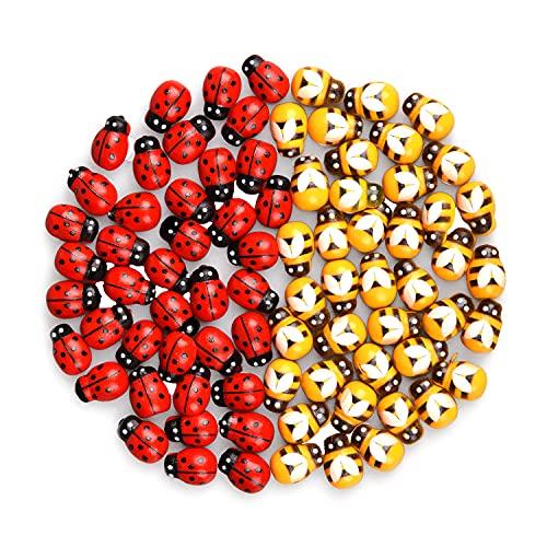 Euvoym 50 Stück selbstklebende Bienen Marienkäfer Holzverzierungen, Bastelkarten, Holzaufsätze, Biene mit flacher Rückseite, Aufkleber für DIY-Dekoration (50)