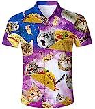 TUONROAD 3D Pizza Cat Muster Hemd Herren Sommer Funky Hawaiian Shirt Button Down Freizeithemden Kurzarm Hawaiihemd XL