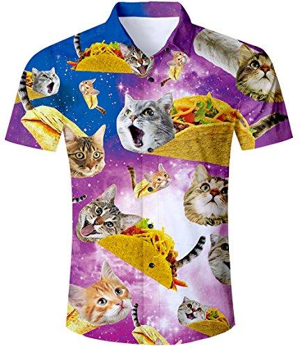 TUONROAD Hemd Herren Kurzarm Funny Pizza Katze 3D Gedruckt Muster Bunte Funky Shirt Hawaiihemd Sommerhemd Button Down Hawaihemden Strandhemd Hawaii Hemd Lila Männer Jungen,1 Cat,XXL