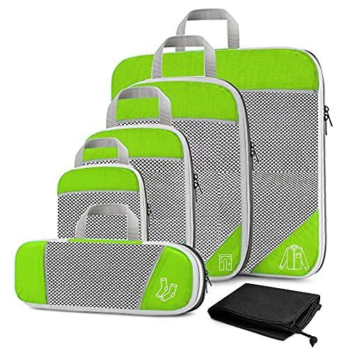 BAIGM Organizador de equipaje, cubos de embalaje comprimibles para organizar tu equipaje de viaje, juego de bolsas y organizador para mochila y maletas.