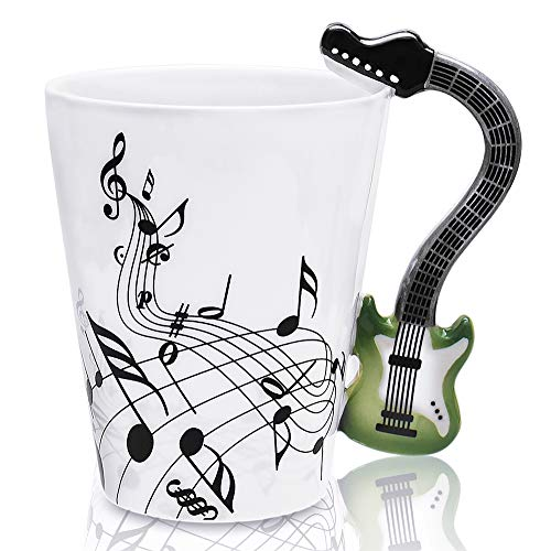 lanhong-400ml Gitarre Becher Kaffee Tasse Keramik Musik Gitarre Tasse Geschenk für Freund. large grün