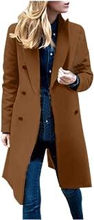 TIFENNY Woolen Jacket for Women Double-Breasted Decor Winter Lapel Wool Coat Trench Jacket Long Overcoat Outwear
