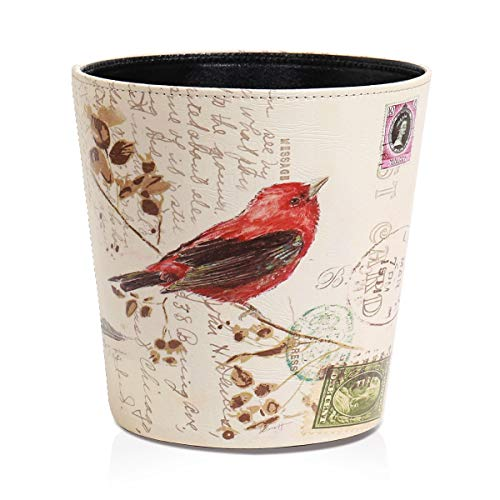 Trash Can Wastebasket Decorative Trash Can Waste Paper Basket Waste Container Bin for Bedroom Office and More Vintage Rustic PU Leather Flowers Pattern Dustbin Garbage Bin3067B5103X103inch