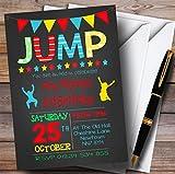 Chalk Boys Jump Trampoline Childrens Birthday Party Invitations