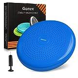 Gonex Cojín de Equilibrio Bomba Incluida para Fitness Yoga Pilates Deportes Ejercicios de Espalda Gimnasio, Asiento de Maniobra Cojin Hinchable Balance Disco para Mejorar Postura,34cm