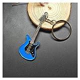 Lxsensp Porte-clés Pendentif New Dice Key Chain Personnalité Metal Dice Poker Football Guitar Modèle Keychain en Alliage Cadeau Voiture Porte-clés Cadeau (Color : Blue)