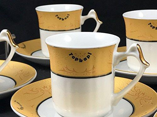 Topkapi – 12-TLG Tassen-Set Gloria Gold, als Kaffee-Set, Tee-Set, Espresso-Set, Porzellan mit Golddekor, für 6 Personen