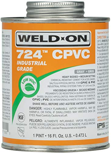 Weld-On 11890 724 Industrial Grade CPVC Heavy-Bodied High Strength Solvent Cement - Medium-Setting and Low-VOC, Gray, 1 Pint (16 fl oz)