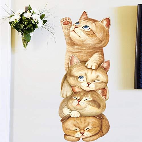 TAOYUE schattige kat piramide spel muur stickers slaapkamer woonkamer kinderen kamer muur decoratie Vinyl dieren muurstickers verwijderbare kunst muurschilderingen