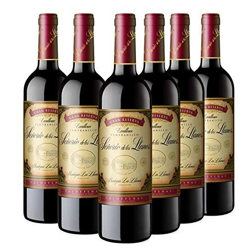 Señorío de los Llanos Gran Reserva - Vino Tinto D.O Valdepeñas - Caja de 6 Botellas x 750 ml