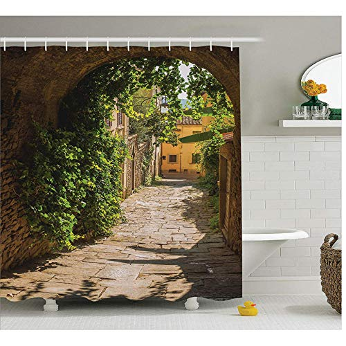AnnChuXia Duschvorhang Straßen Stadt Europäische Kultur Bad Vorhang Wasserdicht Polyester Stoff Badezimmer Dekor 180x200cm (70.8x78.7 inches)