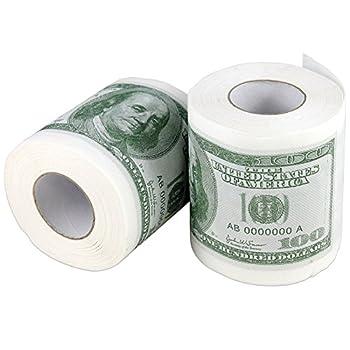Money Toilet Paper Rolls Bathroom Tissue Novelty 100 Dollar Bills - Pack of 2