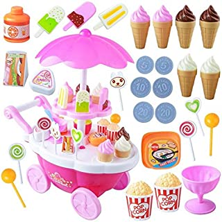 39pcs Kids Simulation Candy Ice Cream Trolley Mini Pusher Car Toy Candy Ice Cream Supermarket Play Toys Kid Toy