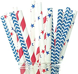 Food With Fashion Patriotic USA Stars & Stripes Red, White & Blue Straws (Pack of 50) - 4th of July Party Supplies, Milita...