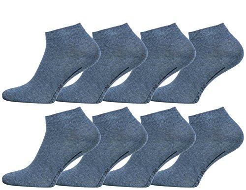 Vincent Creation 8 Paar Herren Sneaker Socken jeansblau,SPORT LINE, Gr. 43/46, aus gekämmter Baumwolle