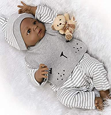 Reborn Baby Dolls African American Boys Silicone Full Body Black Boy Lifelike Realistic Cute Doll Anatomically Correct Toddler Toy Doll Gifts Set for Ages 3+