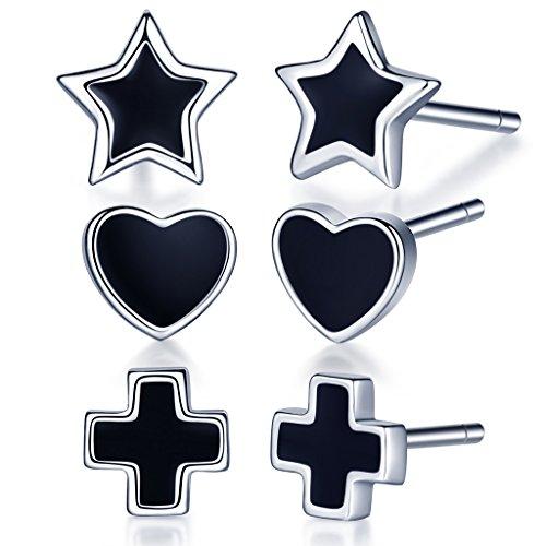 Infinite U–PLATA DE LEY 925negro epoxi estrella/corazón/Cruz Ear Studs Pendientes Earbob Para Mujeres/niñas colgante de, 3pares