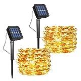 [2 Pcs] Guirnalda Luces Exterior Solar, Luces Navidad 8 Modos 120 LEDs 12M/39ft Alambre de Cobre Luz Decorativa Impermeable, para Terraza, Fiestas, Bodas, Patio, Jardines, Festivales (Blanco Cálido)