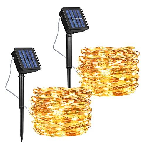 [2 Pcs] Guirnalda Luces Exterior Solar, Luces Navidad 8 Modos 120 LEDs...