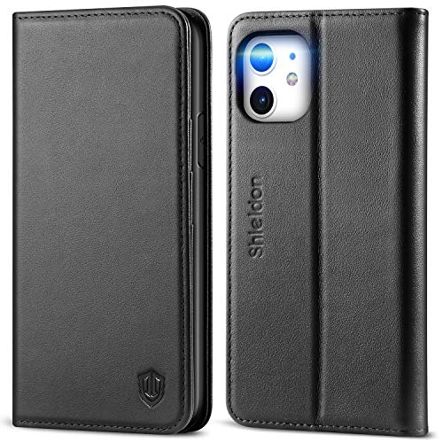 SHIELDON iPhone 11 Case, iPhone 11 Wallet Case, Genuine Leather Magnetic Cover Kickstand RFID Blocking Card Slot with TPU Shockproof Protective Cover Compatible with iPhone 11 (6.1 Inch, 2019) - Black